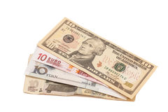Dollari americani, euro europeo, yuan cinesi e rublo russa b Fotografie Stock Libere da Diritti