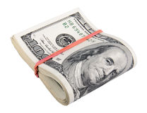 Dollari americani isolati su un bianco Fotografia Stock