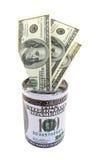 Dollari americani messi su un contenitore di soldi Fotografia Stock Libera da Diritti