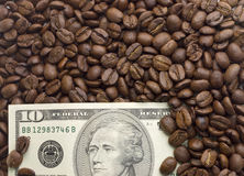 Dollari americani multipli Fondo dei dollari con caffè immagini stock