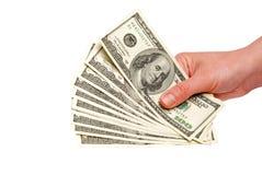 Dollari americani nelle mani Immagine Stock Libera da Diritti