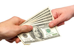 Dollari americani nelle mani Fotografia Stock Libera da Diritti
