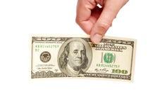 Dollari americani nelle mani Immagini Stock Libere da Diritti