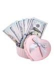 Dollari americani in un contenitore di regalo Immagini Stock