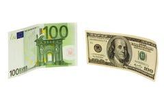 Dollari & euro Fotografie Stock Libere da Diritti