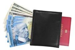 Dollari, borsa e passaporto. Immagini Stock Libere da Diritti