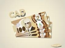 Dollari canadesi dei soldi della carta di progettazione grafica minima di vettore Fotografie Stock