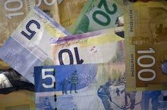 Dollari canadesi di valuta delle denominazioni 5, 10, 20 e 100 Fotografie Stock Libere da Diritti