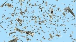 Dollari che cadono dal cielo Fotografia Stock Libera da Diritti