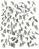 Dollari che cadono sul fondo bianco fotografia stock