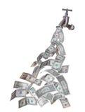Dollari che escono dal rubinetto Immagine Stock