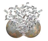 Dollari che volano dalla terra di burst fotografie stock libere da diritti