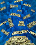 Dollari che volano via sull'astrazione blu Fotografia Stock Libera da Diritti
