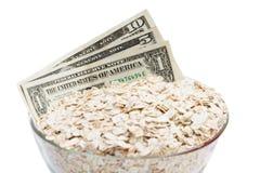 Dollari con alimento Fotografia Stock Libera da Diritti