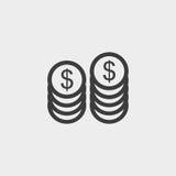 Dollari dei soldi di icona della moneta in una progettazione piana nel colore nero Illustrazione EPS10 di vettore illustrazione di stock