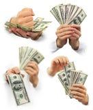 Dollari dei soldi nelle mani isolate Fotografia Stock