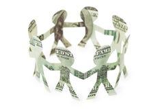 Dollari della piccola gente di ballo dei ritagli in anello Fotografia Stock Libera da Diritti