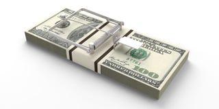 Dollari delle banconote di trappola del topo isolata su fondo bianco illustrazione 3D Fotografia Stock Libera da Diritti