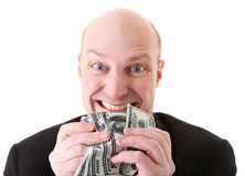 Dollari di avarizia di ingordigia Fotografie Stock