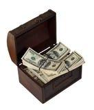 Dollari di banconote in circuito di collegamento. Isolato su bianco Fotografia Stock Libera da Diritti