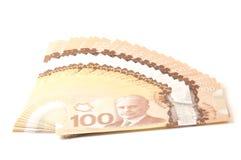 100 dollari di banconote del canadese Fotografie Stock Libere da Diritti