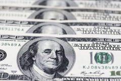 Dollari di concetto del primo piano Dollari americani di denaro contante Cento banconote del dollaro Immagini Stock Libere da Diritti
