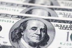 Dollari di concetto del primo piano Dollari americani di denaro contante Cento banconote del dollaro Fotografie Stock Libere da Diritti