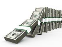 Dollari di domino Fotografia Stock Libera da Diritti