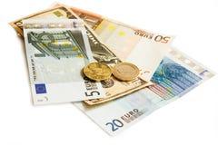 Dollari di euro Lira turca e soldi cechi Fotografie Stock Libere da Diritti