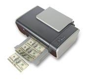 Dollari di falsificazione di stampa della stampante fotografia stock libera da diritti