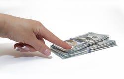 Dollari di fatture a disposizione isolate su bianco, soldi Fotografie Stock Libere da Diritti