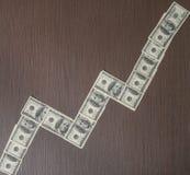 dollari di grafico aumentante delle banconote Fotografie Stock Libere da Diritti