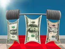 Dollari di gruppo che solleva bilanciere pesante di successo Fotografie Stock Libere da Diritti