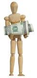 Dollari di legno della holding dell'uomo Immagine Stock
