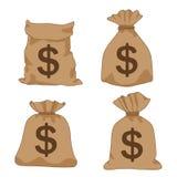Dollari di marrone della borsa dei soldi sul vettore bianco dell'illustrazione del fondo royalty illustrazione gratis
