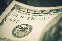 Dollari di numero di serie della banconota Fotografia Stock