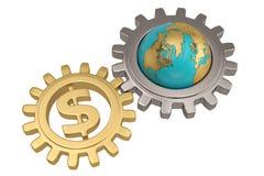 Dollari di segno e globo con l'ingranaggio su fondo bianco illustr 3d Immagini Stock Libere da Diritti