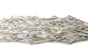 Dollari di Stati Uniti dei soldi, lente d'ingrandimento e serratura isolati su priorità bassa bianca S fattura del dollaro 100 Fotografie Stock
