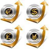 Dollari di sterlina euro Yen Growth - freccia positiva Fotografie Stock Libere da Diritti