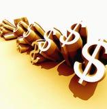 Dollari dorati Immagine Stock Libera da Diritti