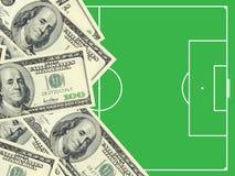 Dollari e campo di football americano Fotografia Stock