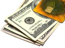 Dollari e carta di credito Fotografia Stock Libera da Diritti