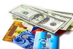 Dollari e carte assegni Immagine Stock Libera da Diritti