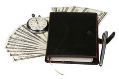 Dollari e cronometro Fotografie Stock Libere da Diritti