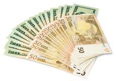 Dollari e euro Fotografia Stock