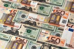 Dollari e euro Fotografie Stock