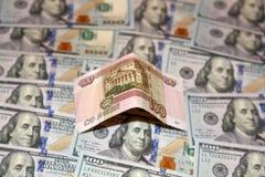 Dollari e rubli Fotografia Stock Libera da Diritti