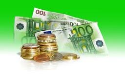 Dollari ed euro Fotografie Stock Libere da Diritti