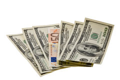 Dollari ed euro Immagine Stock Libera da Diritti