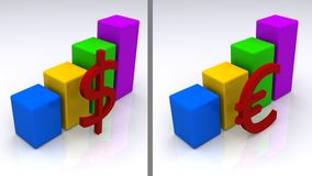 Dollari ed euro aumentare Fotografia Stock